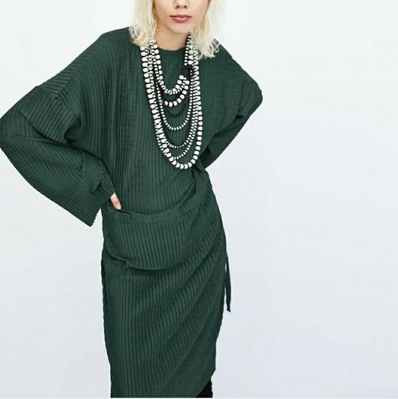36b9ba65 Zara Dresses   Oversized Dark Green Dress   Poshmark